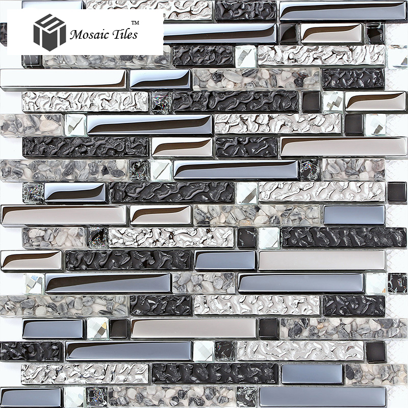 TST Interlocking Black Silver Mirrored Glass Resin Mosaic Tiles with ...