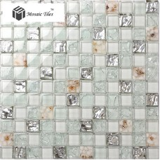 TST Glass Conch Tiles Silver White Squared Bathroom Interior Art Design  TSTGT167