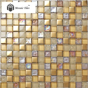 TST Crystal Glass Tile Golden Iridescent Effect  Fireplace Kitchen Backsplah Wall Deco