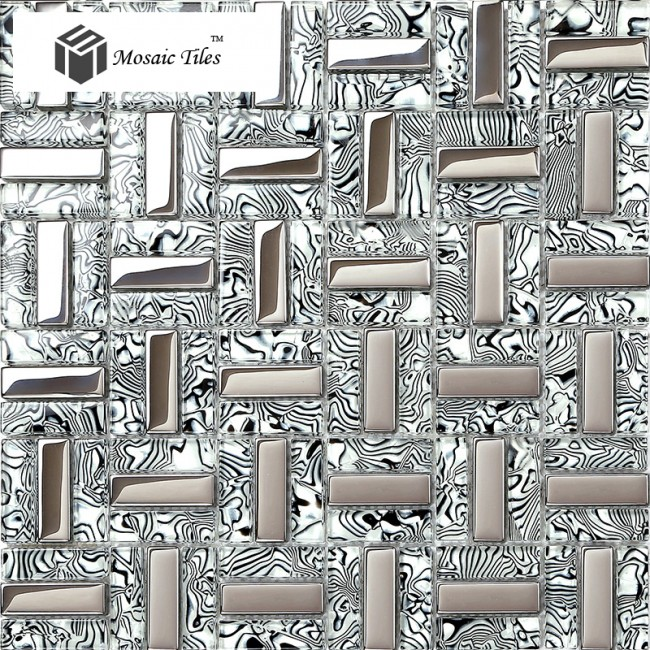 Black And Silver Kitchen Accessories: TST Glass Tiles Black Silver White Stripe Zebra Grain