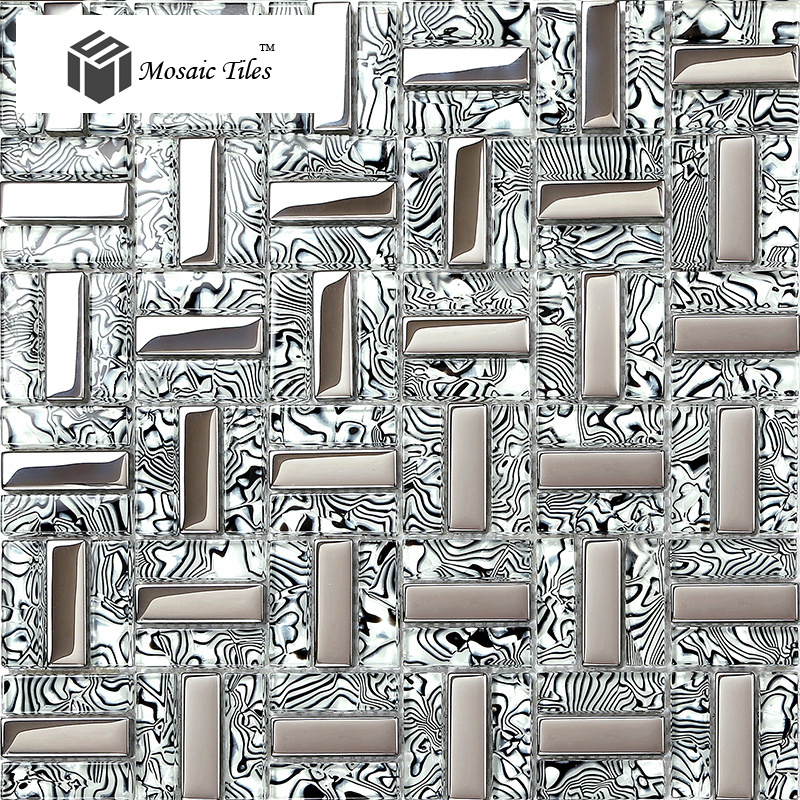 TST Glass Tiles Black Silver White Stripe Zebra Grain Bathroom Kitchen Home  Wall Decor Natural Design ... Part 57