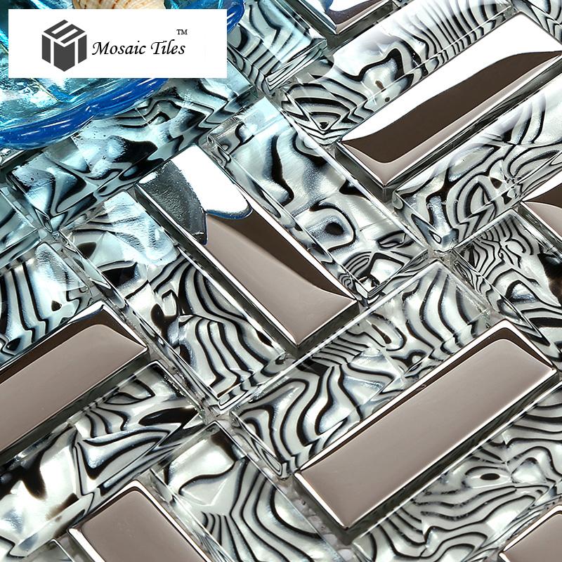 TST Glass Tiles Black Silver White Stripe Zebra Grain Bathroom ...