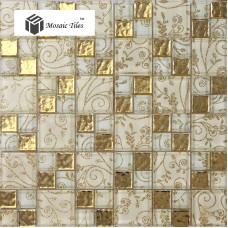 TST Crystal Glass Tiles Golden Mosaic Tile With inner Flowery Pattern and Water Wave Design Home Hotel Decor