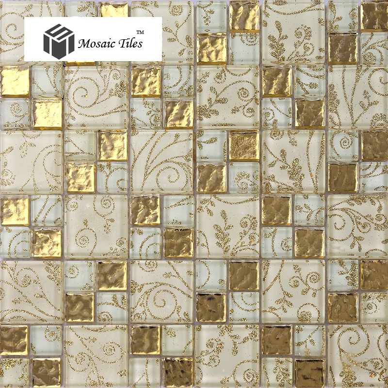 crystal glass tiles golden mosaic tile with inner flowery pattern