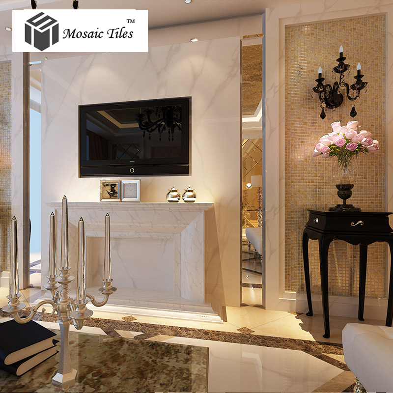 TST Crystal Glass Tiles Golden Mosaic Tile With inner Flowery ...