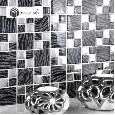 TST Crystal Glass Tiles Black And White Mosaic Glass Classical Tiles  Grids Bath Backsplash Deco