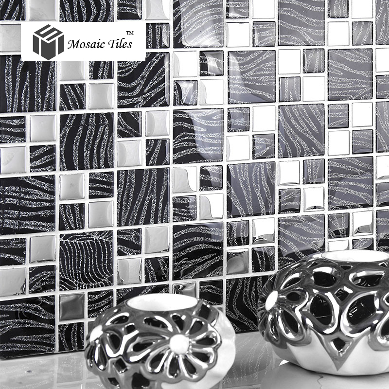 Sample Black Metallic Deco Insert Crackle Glass Mosaic: TST Crystal Glass Tiles Black And White Mosaic Glass Tiles