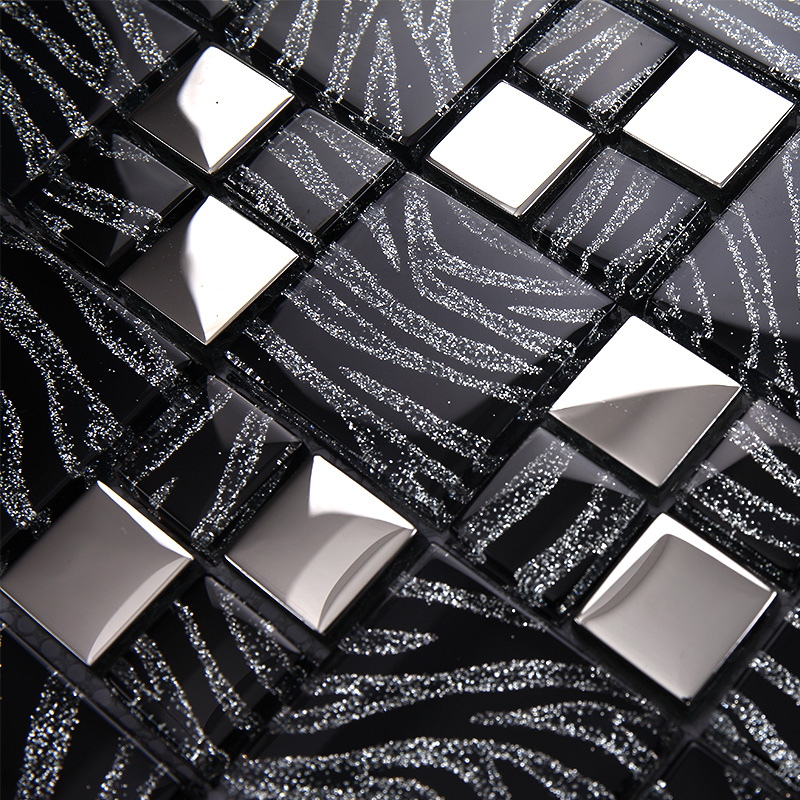 Tst Crystal Glass Tiles Black And White Mosaic Glass Tiles