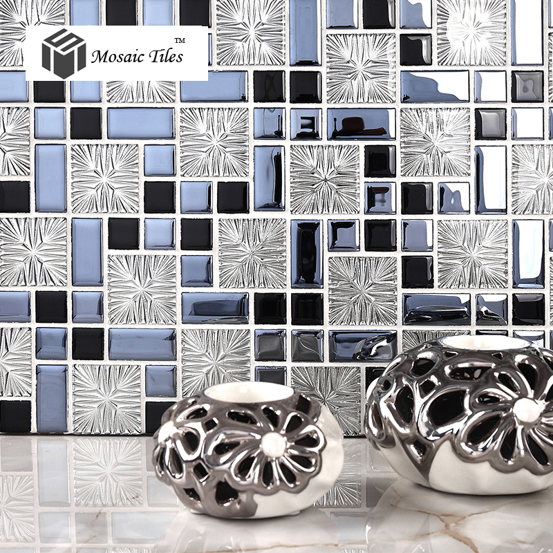 tst crystal glass tiles gray silver black with special techniques inner snowflake modern style home hotel deco