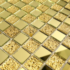 TST Crystal Glass Tiles Bathroom Glass Tile Golden Twinkling Crackle Kitchen Backsplash Design