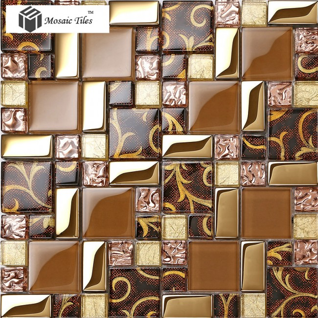 TST Crystal Glass Tiles  Golden Glass Tiles Mosaic Inner Flowery Patterne Home Design
