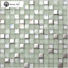 TST Crystal Glass Mosaic Tile Silver Iridescent  Waterwave Inner Crackle Modern Design