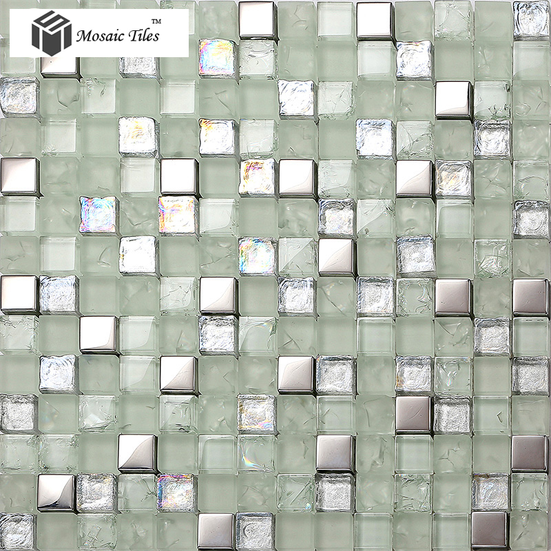 TST Crystal Glass Mosaic Tile Silver Iridescent Waterdrops Inner ...