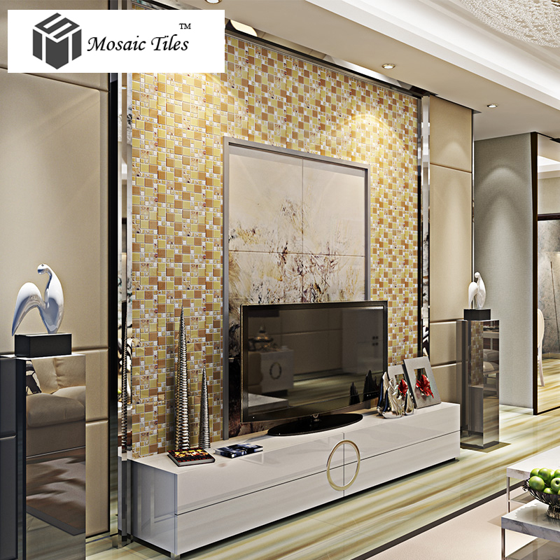 Interior Design For Kitchen Tiles: TST Glass Conch Tiles Golden Glass Tile For Wall Romantic
