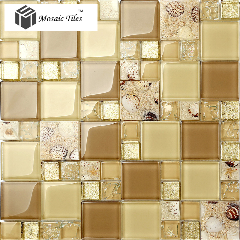 Glass Conch Tiles Golden Glass Tile For Wall Romantic Modern ...