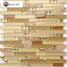 TST Glass Conch Tiles Golden Glass Mosaic Tile Sheets Interlocking Midcentury Home Design Backsplash idea TSTGT223