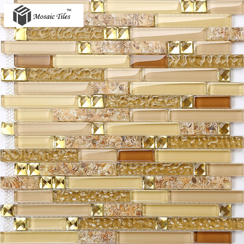 Mosaic Tile Apartment Ideas: TST Glass Conch Tiles Golden Glass Mosaic Tile Sheets