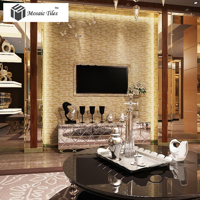 TST Glass Conch Tiles Golden Glass Mosaic Tile Sheets Interlocking  Midcentury Home Design Backsplash Idea TSTGT223