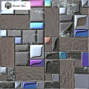 TST Crystal Glass Tile Black Iridescent Glass Tiles For Bathroom  Deco Art