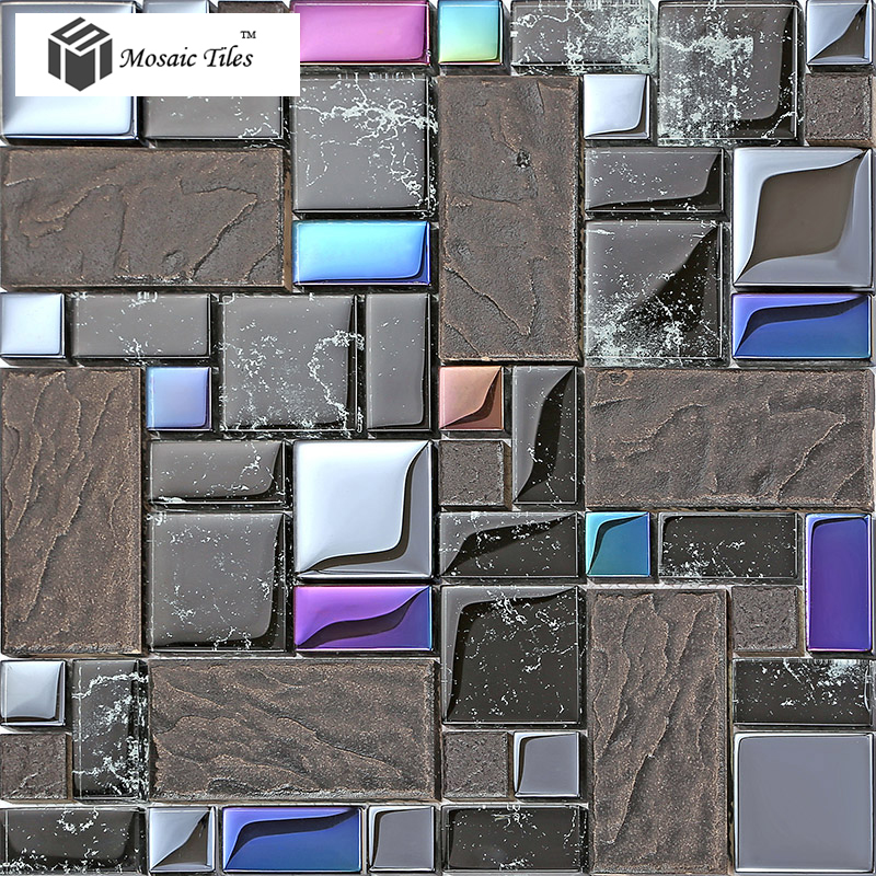 Tst Crystal Glass Tile Black Iridescent Glass Tiles For