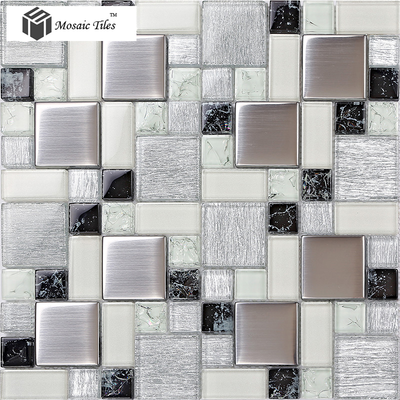 TST Crystal Glass Tile Glossy Kitchen Backplash Bathroom Silver Glitter  Decor Art Mosaics TSTGT226