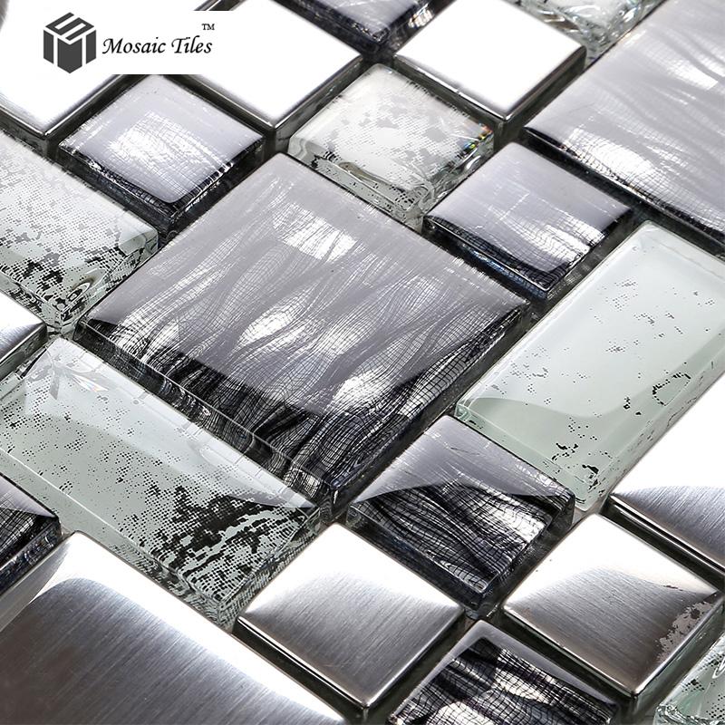 TST Crystal Glass Tile Glossy Mosaics Silver Inner Crackle Grain Best Kitchen With Glass Tile Backsplash