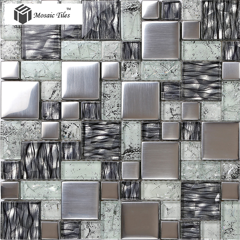 Tst Crystal Gl Tile Glossy Mosaics Silver Inner Le Grain Kitchen Backsplash Deco Art