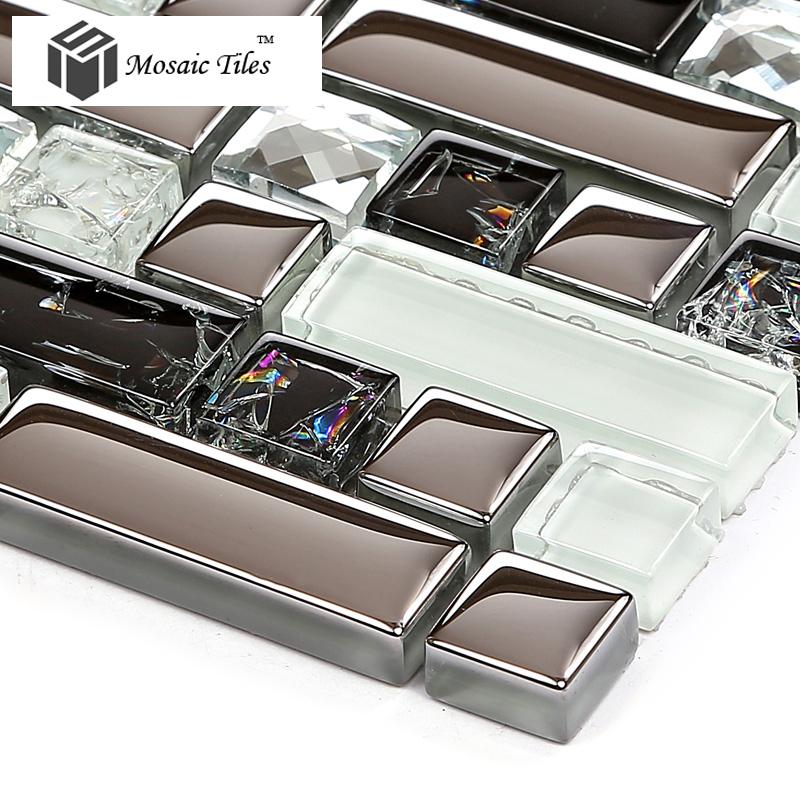Tst Crystal Glass Tile Silver Black White Metallic
