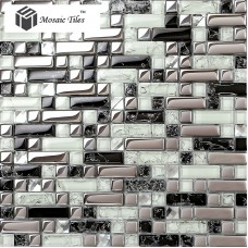 TST Crystal Glass Tile Silver Black White Metallic Bathroom Wall Kitchen Backsplash Deco Art