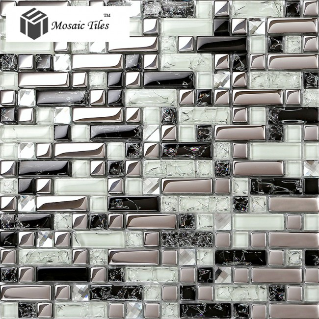 TST Crystal Glass Tile Silver Black White Metallic