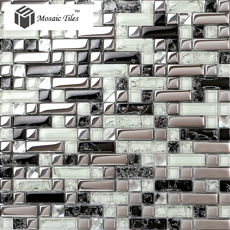 Tst Crystal Gl Tile Silver Black White Metallic Bathroom Wall Kitchen Backsplash Deco Art