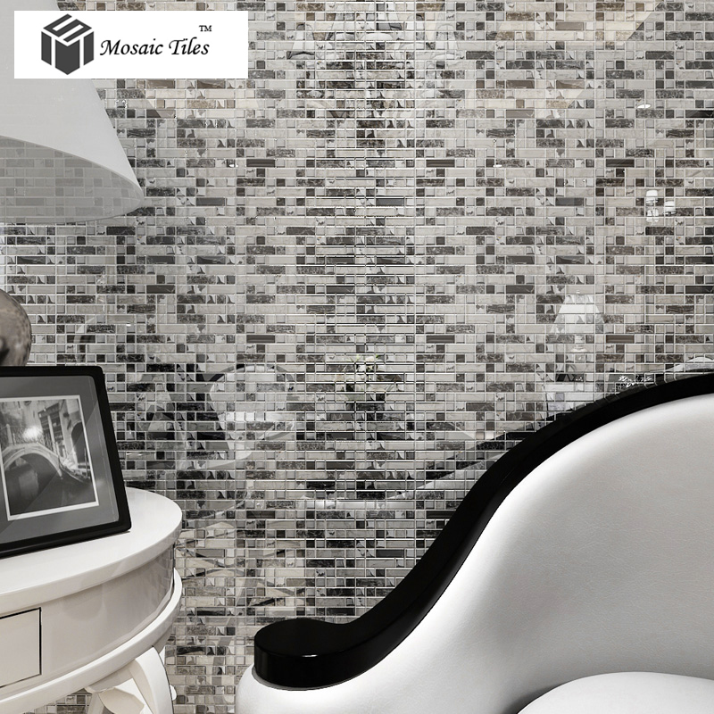 TST Crystal Glass Tile Silver Black White Metallic Bathroom Wall Kitchen  Backsplash Deco Art Part 47