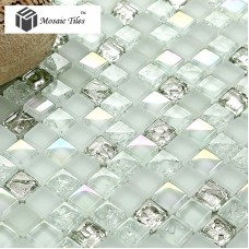 TST Crystal Glass Mosaic Tile Aqua White Iridescent Silver Diamond  Waterdrops Inner Crackle Design