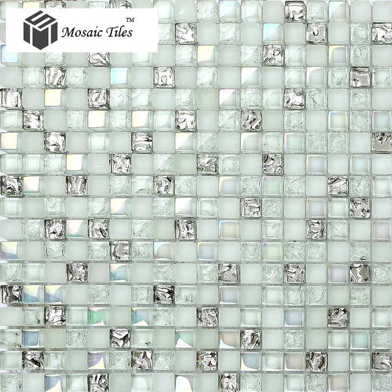 White Kitchen Mosaic Tiles: TST Crystal Glass Mosaic Tile Aqua Iridescent Silver