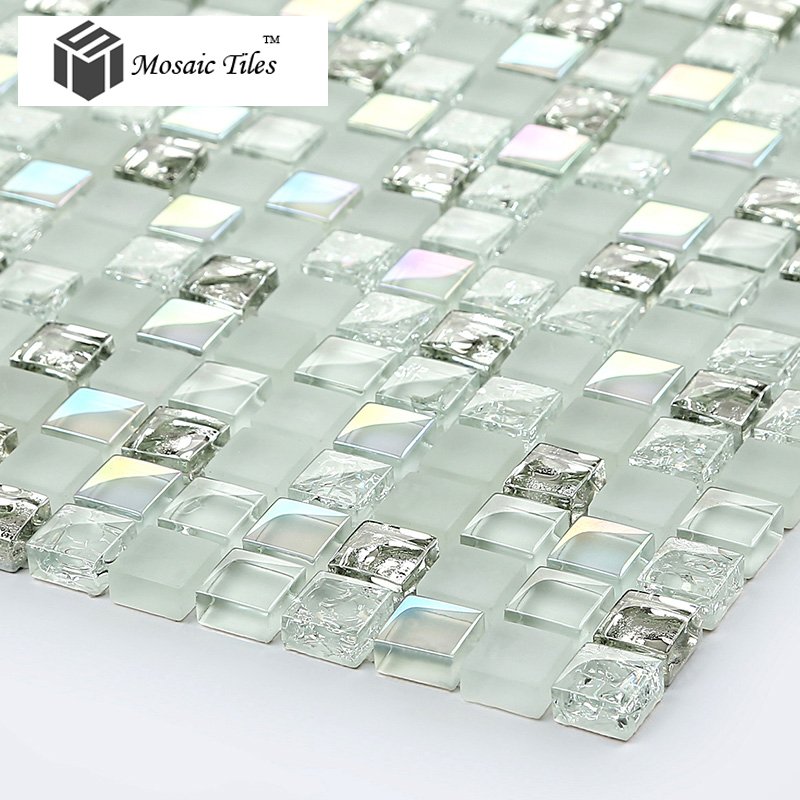 ... TST Crystal Glass Mosaic Tile Aqua White Iridescent Silver Diamond  Waterdrops Inner Crackle Design Part 98