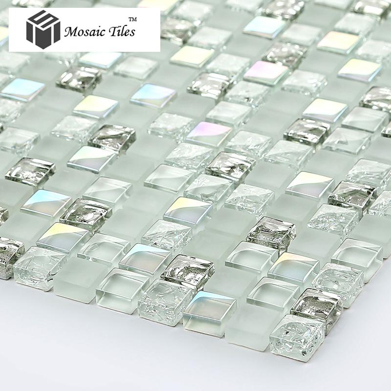 Tst Crystal Glass Mosaic Tile Aqua Iridescent Silver