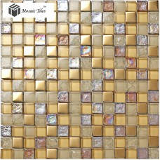 TST Crystal Glass Mosaic Tile iridescent Golden Glass Tile Bathroom Ideas For Wall Design