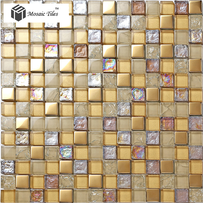 Tst crystal glass mosaic tile iridescent golden glass tile for Bathroom design ideas mosaic tiles