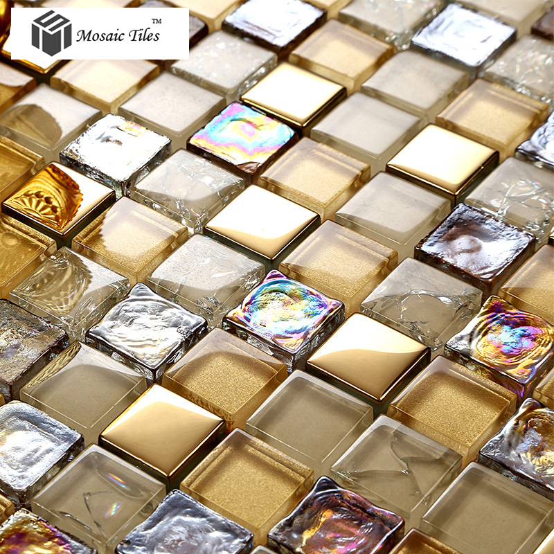 Tst Crystal Glass Mosaic Tile Iridescent Golden Glass Tile