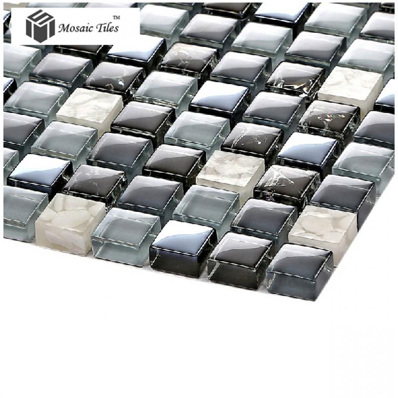 tst glass conch tiles dark blue glass tile bathroom squared, Home decor
