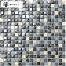 TST Glass Conch Tiles Dark Blue Glass Tiles Bathroom Squared Kitchen Tile Backsplash Ideas TSTGT240