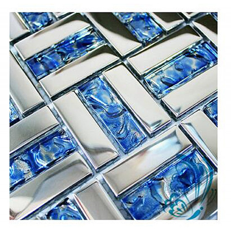 Tst Sea Blue Glass Mosaic Tile Chrome Finish Wave Backing