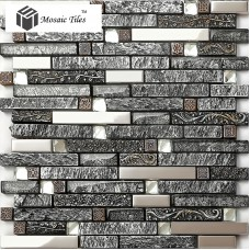 TST  Stone Glass Tiles Sliver Living room glass tile ideas Wave Marble Striped Art Mosaics Bar Hotel Deco