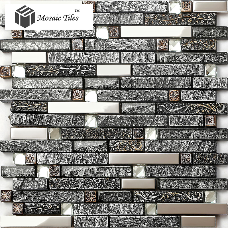 Mosaic Tile Apartment Ideas: TST Nature Stone Glass Tiles Blue Wave Marble Striped Art