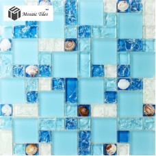 TST Glass Conch Tiles Sea Blue Glass Tile  Bathroom Wall Mirror Deco Mesh Mosaic Art Kitchen Backsplash Tile  TSTGT250