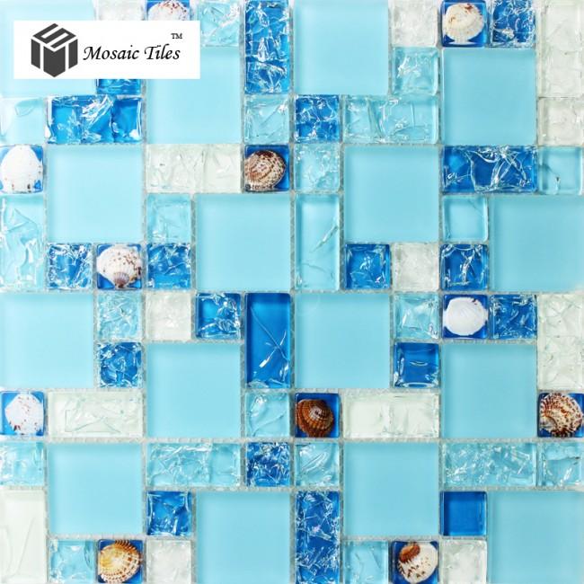 Tst glass conch tiles sea blue glass tile bathroom wall mirror deco mesh mosaic art kitchen for Sea glass mosaic tile bathroom