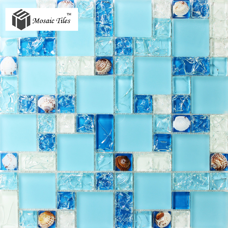 Glass Conch Tiles Sea Blue Glass Tile Bathroom Wall Mirror Deco ...