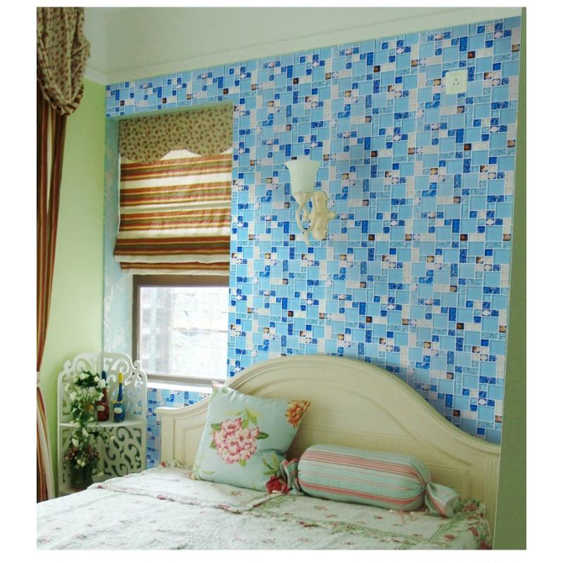 Art Décor: TST Glass Conch Tiles Sea Blue Glass Tile Bathroom Wall
