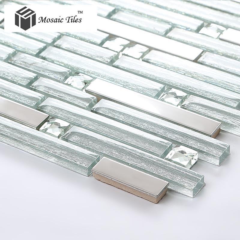 Tst crystal glass tile crystal glass tiles silver strip for Stainless steel tile backsplash reviews