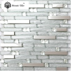 TST Glass Metal Tiles silver Strip Stainless Steel Kitchen Backsplash Bar Counter Bathroom Shower Deco